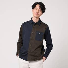 クレイジーパターンカットソーシャツ (ダークブラウン)