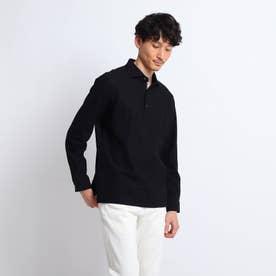 【Sサイズ~】ハニカム長袖ポロシャツ (ブラック)