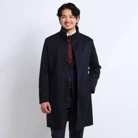 【Sサイズ~】メランジスタンドカラーコート (ダークネイビー)