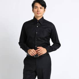【Sサイズ~】市松紋柄 ビジネスシャツ (ブラック)