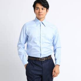 【Sサイズ~】市松紋柄 ビジネスシャツ (ライトブルー)