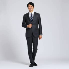 【Sサイズ~】シャドーオルタネイトストライプスーツセットアップ Fabric by MIYUKI KEORI (チャコールグレー)