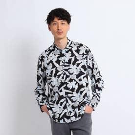 レーヨンフラワープリントシャツ (ブラック)