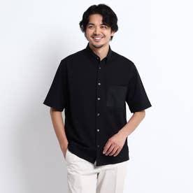 【Sサイズ~】Mizuno コラボ ブロックニット スナップダウン シャツ (ブラック)