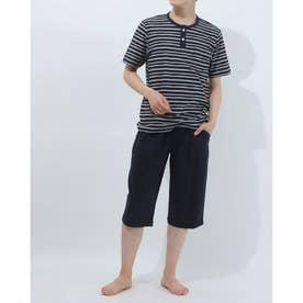 半袖半パンツニットパジャマ (ブルー)