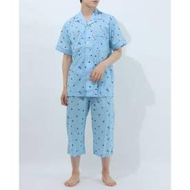 半袖半パンツテーラードパジャマ (ブルー)