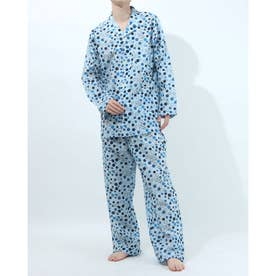 長袖テーラードパジャマ (ブルー)