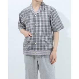 半袖布帛前開きシャツ (杢グレー)