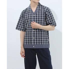 半袖布帛前開きシャツ (コン)