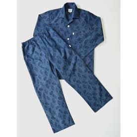 長袖テーラードパジャマ (ネイビー)