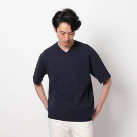 マシンウォッシャブル ハニカム ニット Tシャツ (ネイビー)