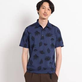【Sサイズ~】リーフ総柄 カノコ ポロシャツ (ブルー)