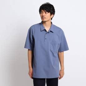 【大きいサイズ】度詰め鹿の子 ポロシャツ (ライトブルー)