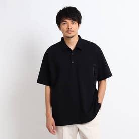【大きいサイズ】度詰め鹿の子 ポロシャツ (ブラック)