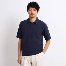 【Sサイズ~】マシンウォッシャブル ハニカム ニット ポロシャツ (ネイビー)