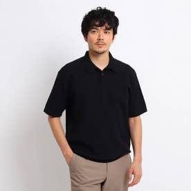 【Sサイズ~】マシンウォッシャブル ハニカム ニット ポロシャツ (ブラック)