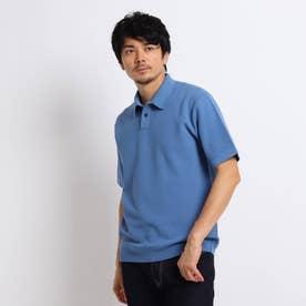 【Sサイズ~】マシンウォッシャブル ハニカム ニット ポロシャツ (ライトブルー)