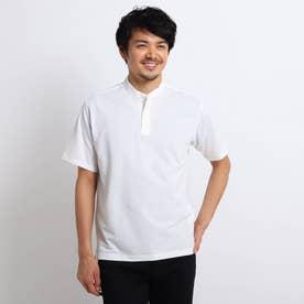 サッカージャージ プルオーバー バンドカラーシャツ (ホワイト)