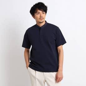 サッカージャージ プルオーバー バンドカラーシャツ (ネイビー)