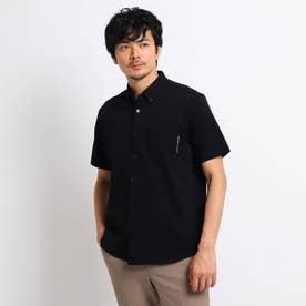 度詰め鹿の子 カットソーシャツ (ブラック)