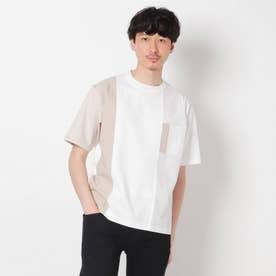【Sサイズ~】シャツ地切り替え クレイジーカットソー (ホワイト)