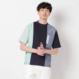 【Sサイズ~】シャツ地切り替え クレイジーカットソー (ネイビー)
