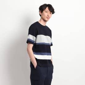 【Sサイズ~】パネルボーダーニットTシャツ (ネイビー)