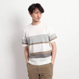 【Sサイズ~】パネルボーダーニットTシャツ (ホワイト)
