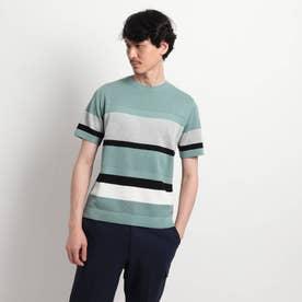 【Sサイズ~】パネルボーダーニットTシャツ (ライトグリーン)