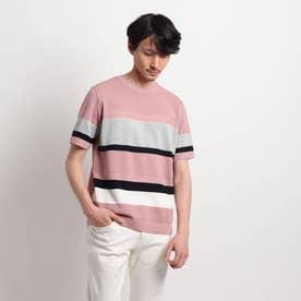 【Sサイズ~】パネルボーダーニットTシャツ (ラズベリーピンク)