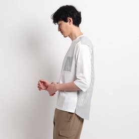 切り替え7分袖カットソー (ホワイト)