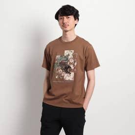 【Sサイズ~】パッチワークミックスプリントTシャツ (ブラウン)