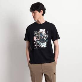 【Sサイズ~】パッチワークミックスプリントTシャツ (ブラック)