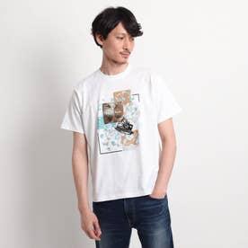 【Sサイズ~】パッチワークミックスプリントTシャツ (ホワイト)