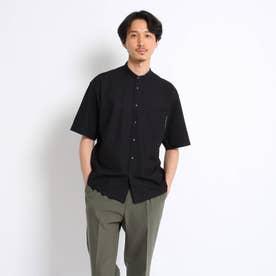 カノコカットソー バンドカラーシャツ (ブラック)