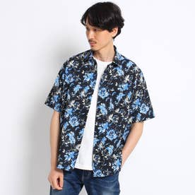 ボタニカルプリント シアサッカーシャツ (ブラック)
