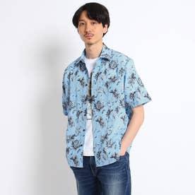 ボタニカルプリント シアサッカーシャツ (ブルー)