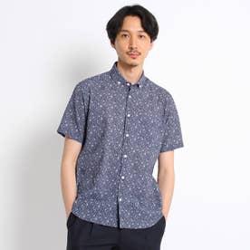 【Sサイズ~】フラワー千鳥プリント シアサッカーシャツ (ネイビー)