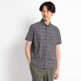 【Sサイズ~】フラワー千鳥プリント シアサッカーシャツ (ブラック)