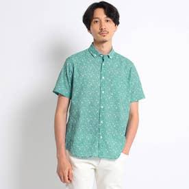 【Sサイズ~】フラワー千鳥プリント シアサッカーシャツ (ライトグリーン)