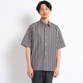 オーバーサイズ マルチストライプ 半袖シャツ (ダークグレー)