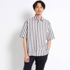 オーバーサイズ マルチストライプ 半袖シャツ (ホワイト)