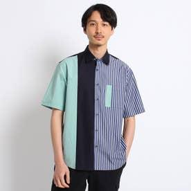 【Sサイズ~】ブロッキング 半袖シャツ (ネイビー)