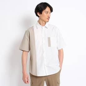 【Sサイズ~】ブロッキング 半袖シャツ (ホワイト)
