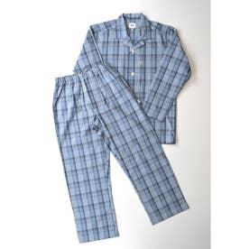 LL)長袖テーラードパジャマ (ブルー)
