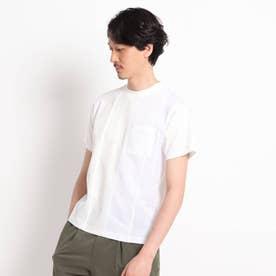 【Sサイズ~】ストライプ 切り替え カットソー (ホワイト)