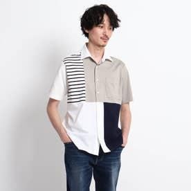【Sサイズ~】パネル ブロッキング カットソーシャツ (ホワイト)