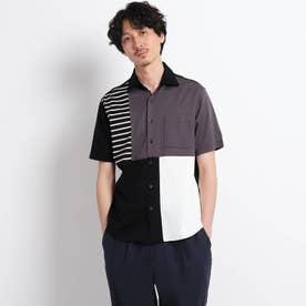 【Sサイズ~】パネル ブロッキング カットソーシャツ (ブラック)