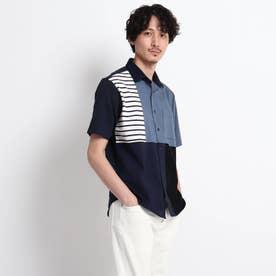 【Sサイズ~】パネル ブロッキング カットソーシャツ (ネイビー)