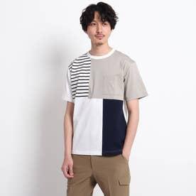 【Sサイズ~】パネル ブロッキング カットソー (ホワイト)